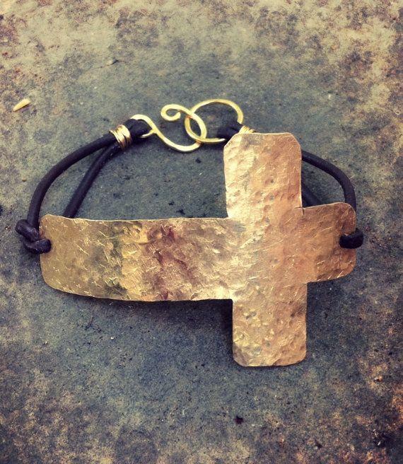 Sideways Cross Bracelet Rustic Cross Bracelet by DeerGirlDesigns, $29.00