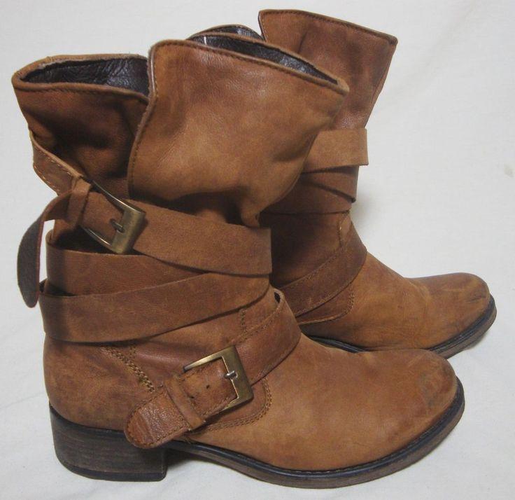 Steve Madden Brown Leather Slouch Ankle Boots Wrap Buckle Bootie Biker Women 8.5 #SteveMadden #AnkleBoots