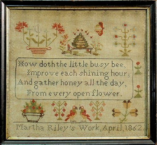 """English wool on linen sampler with verse, wrought by Martha Riley 1862. 12.5""""x13.5"""""""