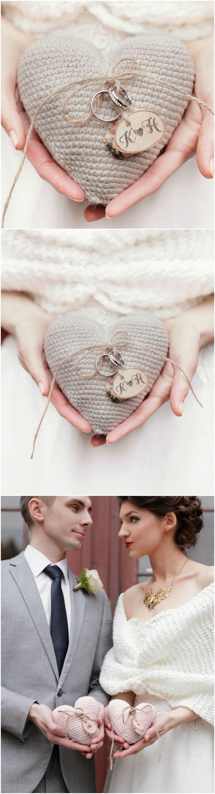 Romantic Shabby Chic Wedding Ring Bearer Pillow with wooden tag #romantic #shabbychic #vintage #rustic #handmade #weddingideas #weddingrings