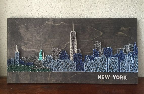 New York Skyline String Art – Arte di Lower Manhattan – art di New York – Manhattan – Lower Manhattan Skyline – Freedom Tower