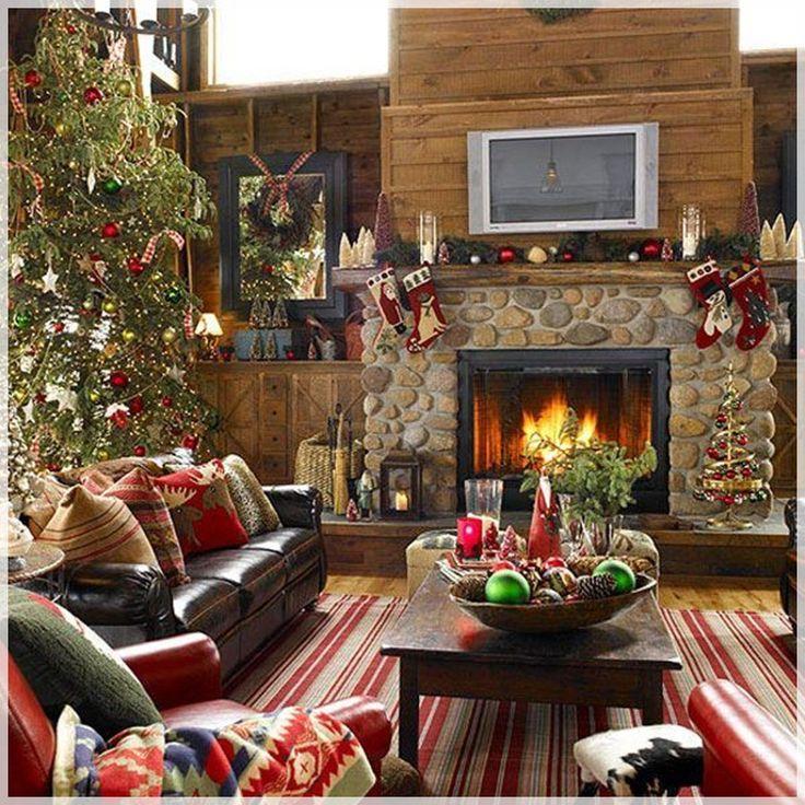 Ideas Decoration Traditional Christmas Tree : Ideas Decoration Traditional Christmas Tree Fireplace Decoration
