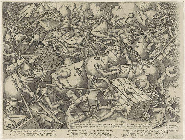 Pieter van der Heyden | Strijd tussen de geldzakken en de geldkisten, Pieter van der Heyden, Joannes Galle, 1570 - 1601 | Woest gevecht tussen de geldzakken en de geldkisten. Op de grond liggen munten, rechtsvooraan een hond aan een ketting. Met onderschrift van drie kolommen met elk twee regels in het Latijn en twee regels in het Nederlands.