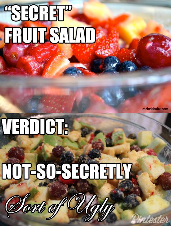 The secret to secret fruit salad, it turns out, is to follow the directions. Hrm.