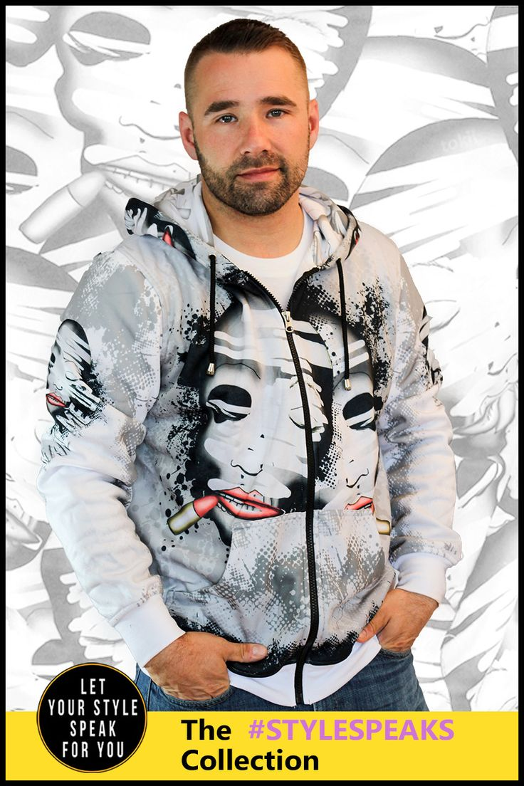 This design is about people hiding who they are under make-up. All that becomes left underneath is a skeleton. This men's zipper hoodie features a haunting design