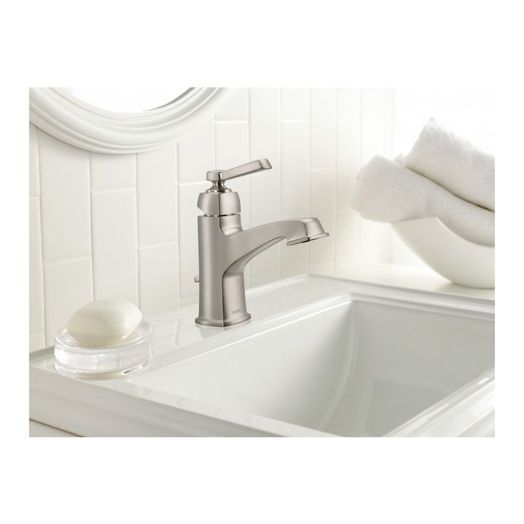 Shop Moen Boardwalk Spot Resist Brushed Nickel 1 Handle Single Hole Watersense Bathroom Sink