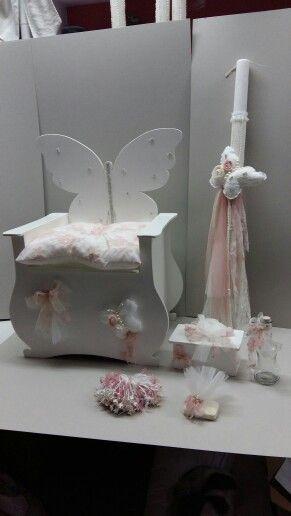 Σετ βάπτισης για κορίτσι με θέμα πεταλούδα   210 400 64 76