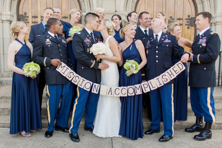 Military wedding - Dress Blues - Groomsmen in Dress Blues - Groomsmen in uniform - Groom in uniform - Navy Blue Bridesmaids - Bridesmaid dresses - Green and White - All White - Garden Roses - Wedding Banner - Wedding Photography - Ideas for Weddign Pictures - Mission Accomplished - Knoxville TN Florist Wedding Vendor Knoxville - www.lisafosterdesign.com
