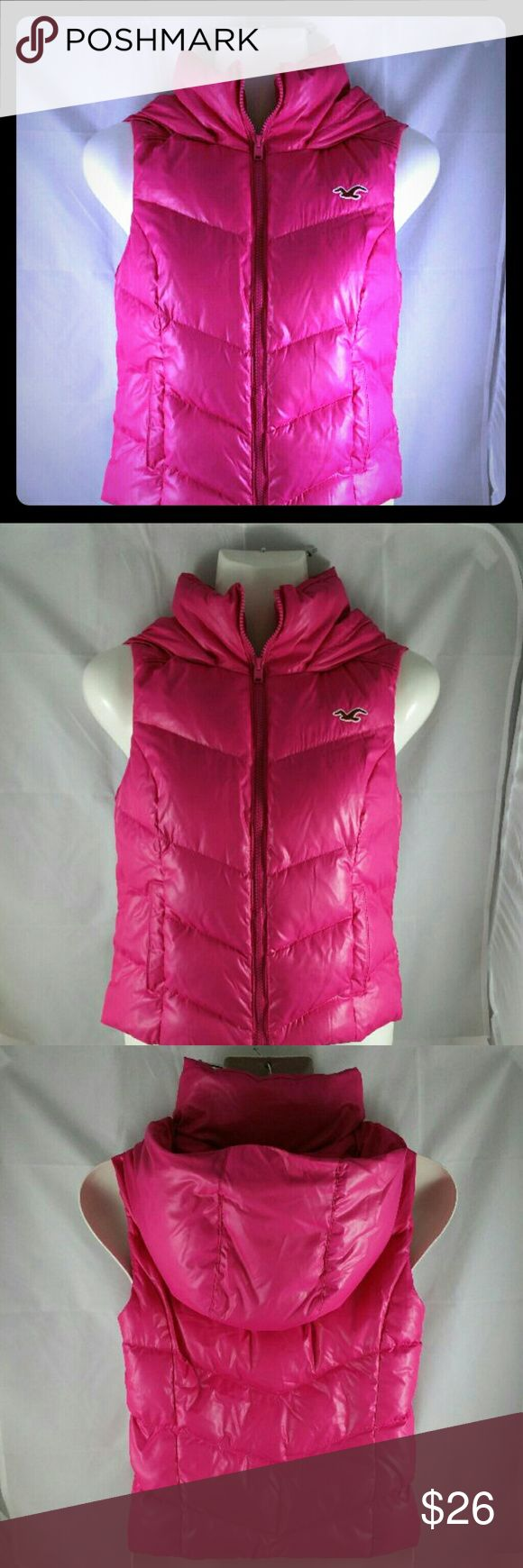Hollister Puffer Jacket w/Hood Hollister Sleeveless Puffer Jacket With Hood Size - XS Two (2) front pockets 100% polyester  Brand: Hollister  Color: Bright Pink Hollister Jackets & Coats