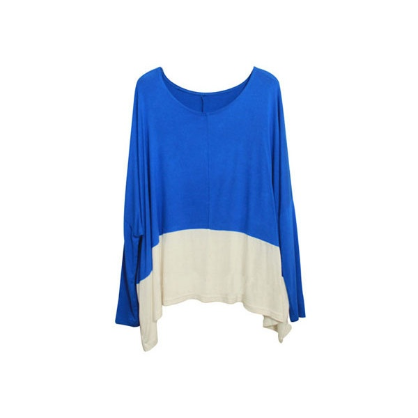 Color Contrast Blue Batwing T-shirt found on Polyvore