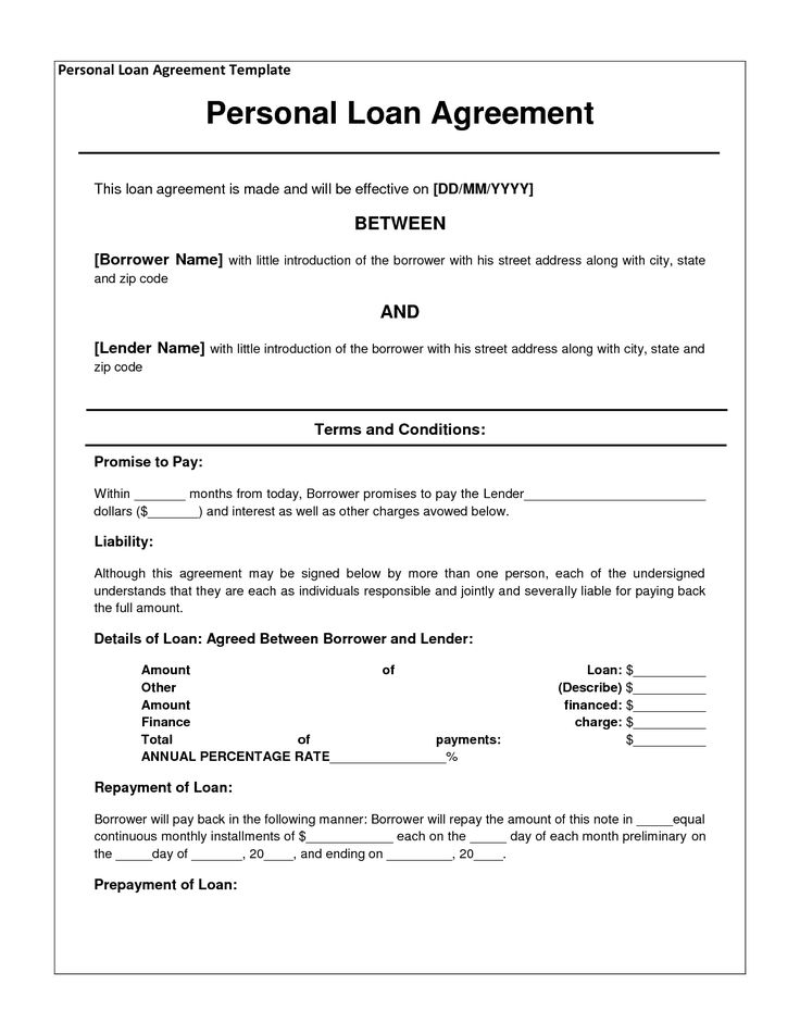 Free Personal Loan Agreement Form Template $1000