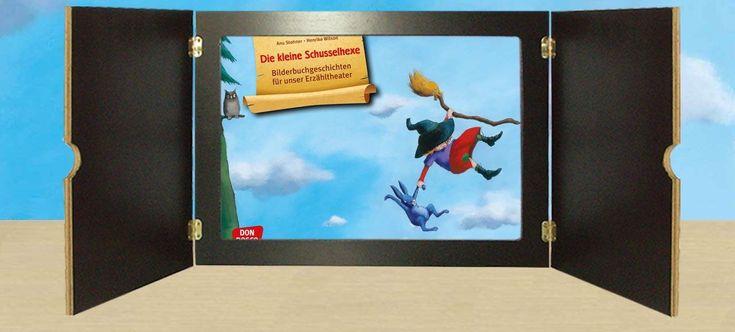 Die kleine Schusselhexe zaubert jetzt im Kamishibai! Sie kann sich Zaubersprüche einfach nicht merken und zeigt den Kindern nicht nur, dass man über kleine Fehler am besten lacht. Sie werden durch den Spaß am Reimen auch sprachlich gefördert! Sprachförderung und Reimespaß für Kinder von 3 - 8 Jahren. (Anu Stohner, Henrike Wilson, Die kleine Schusselhexe © Carl Hanser Verlag München 2013)