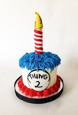 "Dr. Seuss ""Thing 2"" themed smash cake; birthdays - by Asa's Cakes"