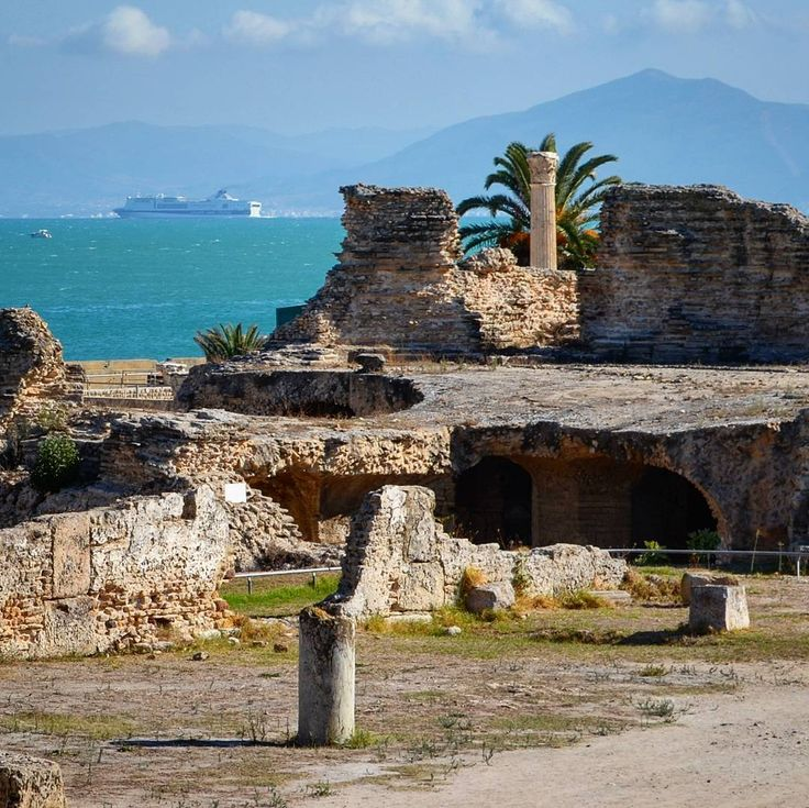 View of the Gulf of Tunis  from the ancient city of Carthage  Tunisia.  This  archaeological area is an Unesco World Heritage site.