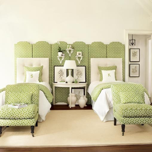 greenery interesting use of one green and white geometric print love the screen panels demilune table white tufted headboards suzanne kasler