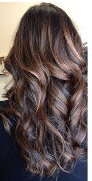 Chocolate brown hair colored with balayage technique. Long hair. Brunette hair…