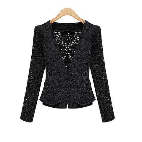 Slim Fit V-Neck Long Sleeve Solid Color Lace Women's Jacket, BLACK, XL in Jackets & Coats   DressLily.com