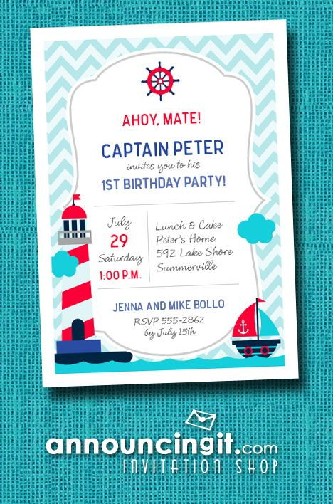 KIDS BIRTHDAY INVITATIONS A Cute Little Boat Sails On The Sea Towards Red And White Stripe Light House Perfect For Boys First Birthday Party