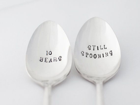 10 or Personalize years. Wedding Anniversary Vintage Spoon Set stamped Silverware Vow Renewal 10 year Anniversary Gift Spoon Tracker