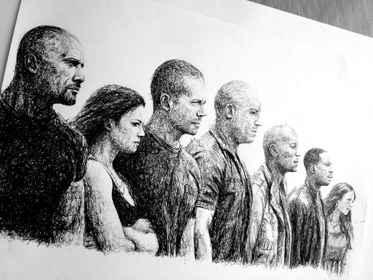 Dibujo de rapido y furioso 7 con Bic  #arte #artfido #paul #paulwalker #fastandfurious7 #sketch #instagood #illustration #sketch #instaart #blackandwhite #paper #shadow #amazing #artistic #drawing #pen #photooftheday #joker #bic #ff #faf #ff7