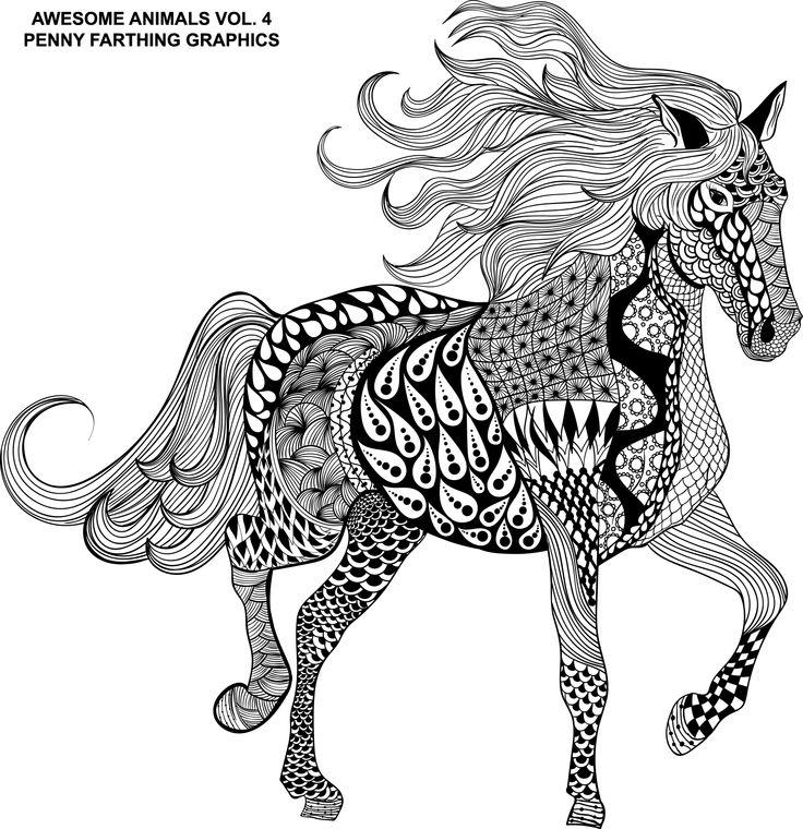144 best zentangled animals horse images on pinterest. Black Bedroom Furniture Sets. Home Design Ideas