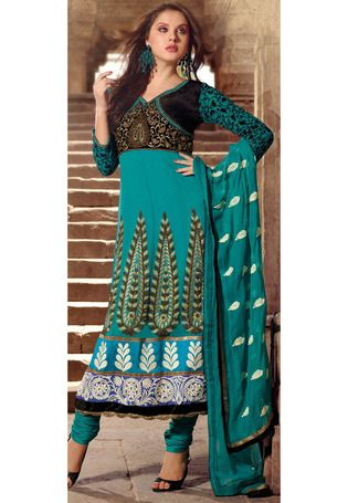 Teal Faux Georgette Anarkali Churidar Kameez