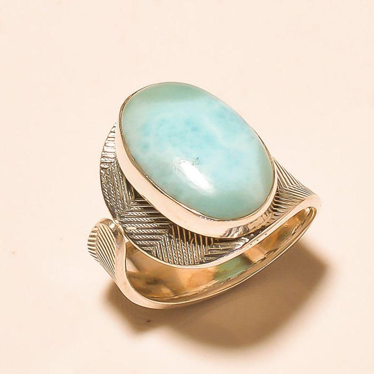 92.5% SOLID STERLING SILVER MARVELOUS CARIBBEAN LARIMAR RING (Adjustable)  #Handmade