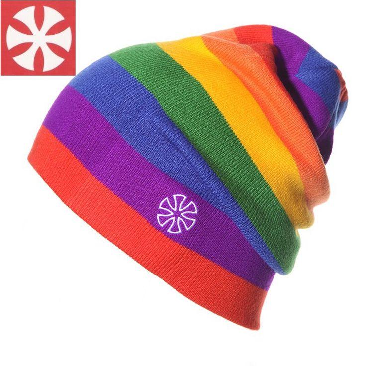 CaiZhongHai / B3 Colorful Jacquard Winter Hats High quality Rainbow Color Stripes knit Beanies For Women & Men Ski Caps skullies