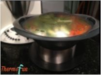 Keep the cooked varoma food warm by placing the Varoma on top of the ThermoServer (without the ThermoServer lid on) | ThermoFun
