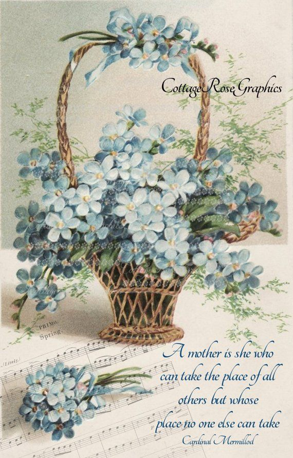 Victorian Mother\u0027s Day collage Basket of Forget me nots Large