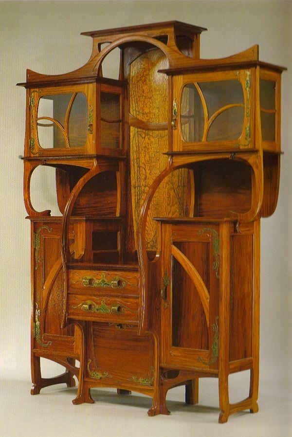 Gustave Serrurier-Bovy - Red narra and ash with copper and enamel mounts: Decor, Ideas, China Cabinets, Art Nouveau Furniture, Artnouveau, Hobbit House, Art Deco, Design, Enamels