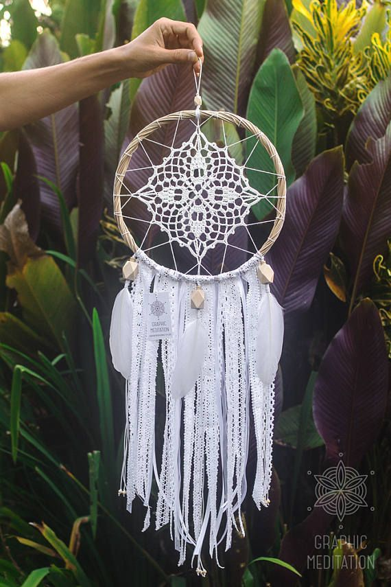 White dream catcher mobile crochet doily dreamcatcher wall