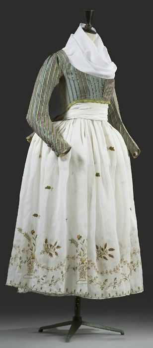 """Ladies """"Macaroni"""" jacket and embroidered skirt. Late 18th century. French. Silk."""