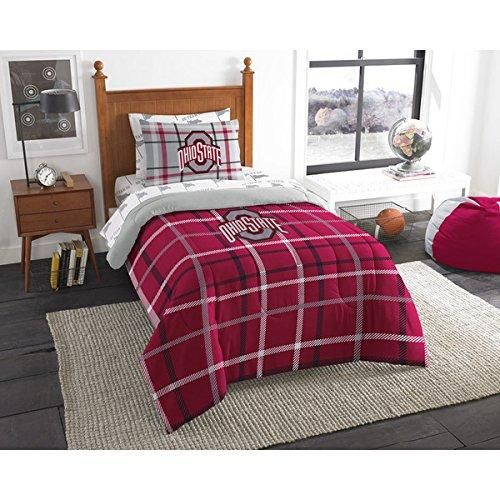 Twin NCAA Ohio State Buckeyes Comforter Set Red Gray Sports Patterned Bedding Team Logo Ohio State Merchandise Team Spirit College Football Themed