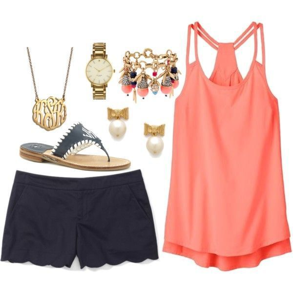 Cute Summer Outfit Idea. Love the colors, detail of scalloping on the shorts, and flow of the top!