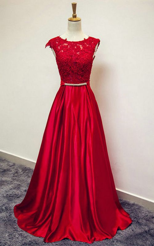 A Line Sleeveless Satin Lace Sashes Dark Red Floor Length O Neckline Long Prom Dress