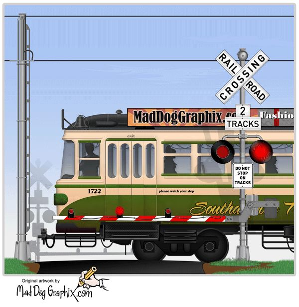 Streetcar and railroad crossing with gate and lights on MadDogGraphix.com