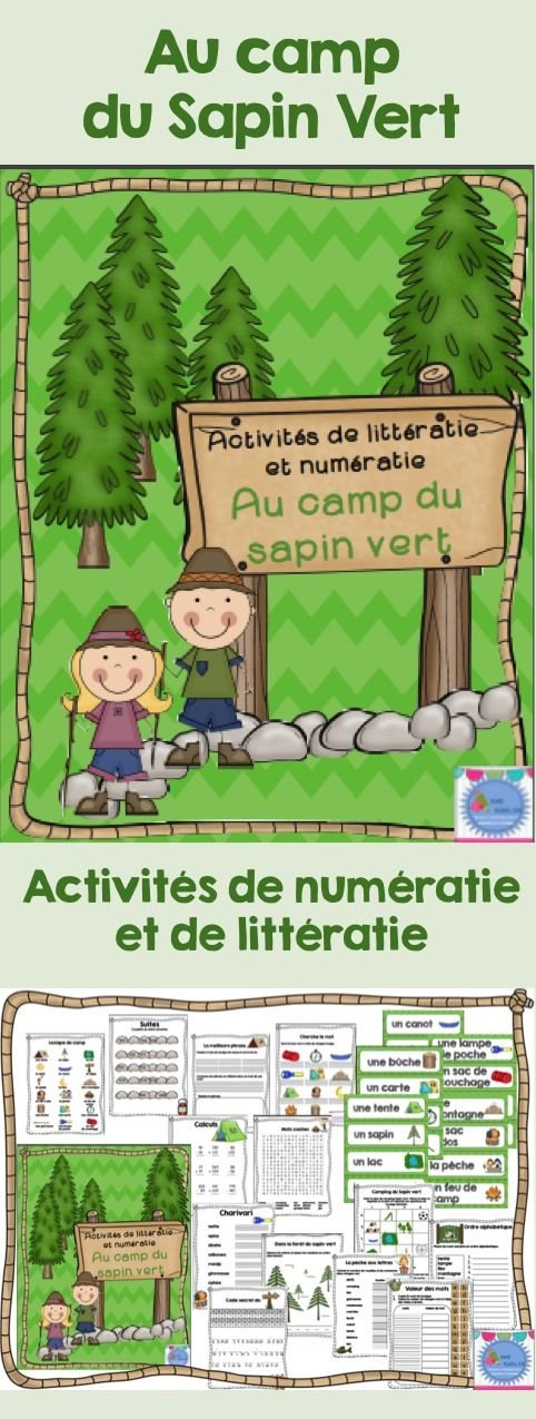 Camp numeracy and literacy activities in French/ Activités de littératie et numératie au Camp du Sapin vert + mots étiquettes!