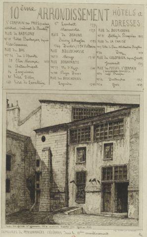 Demeures de personnages célèbres dans le 10ème arrondissement (division de 1796 à 1860) | Rue des Fossés-St-Germain n°4 (sic pour 14) - Maison habitée par Gros en 1829