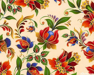 Kiev 2 - Russian Folk Floral - Cream/Gold