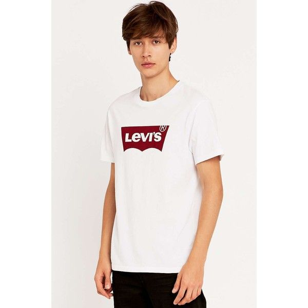 Levis White Batwing Tee - Urban Outfitters (£25) ❤ liked on Polyvore featuring tops, t-shirts, white t shirt, white tee, batwing t shirt, white top and batwing top