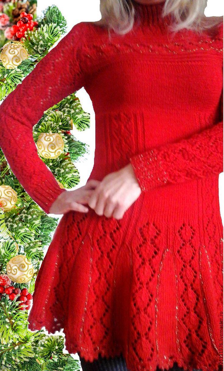 Купить АВТОРСКОЕ ПРАЗДНИЧНОЕ ПЛАТЬЕ - ярко-красный, однотонный, платье вязаное, Платье нарядное