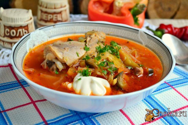 Борщ с курицей и баклажанами фото рецепт приготовления