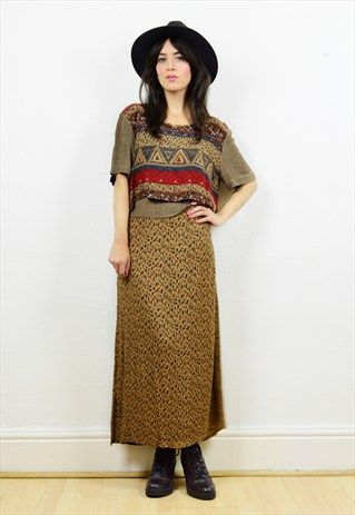 90s+boho+print+layered+midi+dress