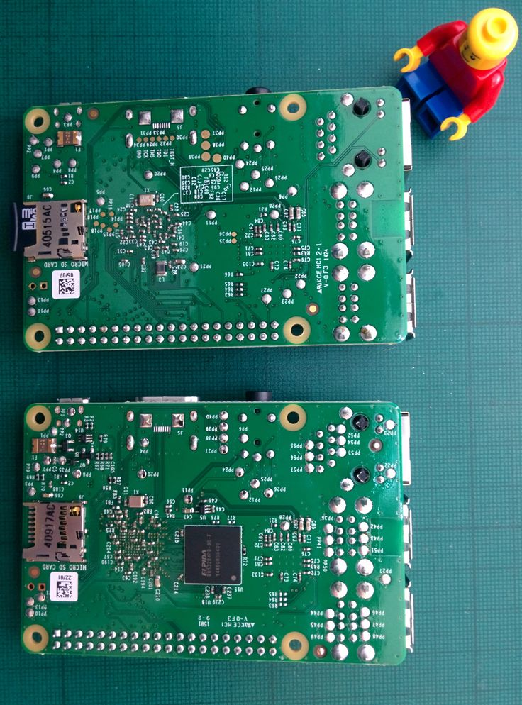 Raspberry Pi B+ and 2 side by side comparison