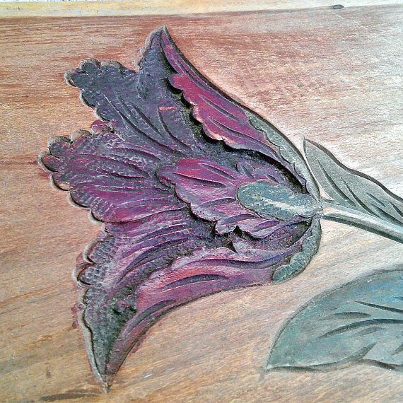 Tulip, Hand carved decor, Vintage wall art, Decorating board, Salvaged wood