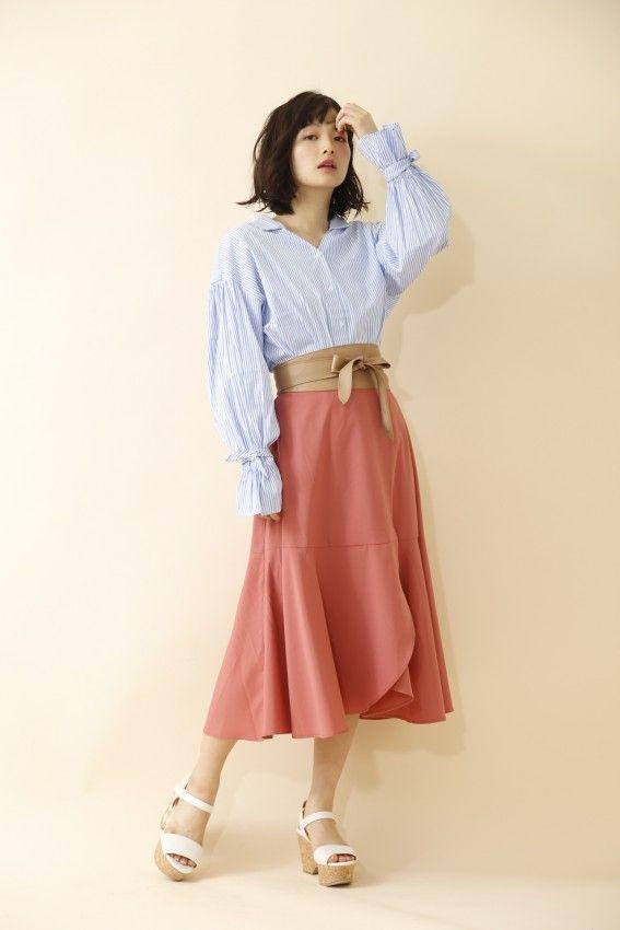 サッシュベルト付きイレギュラースカート 商品画像