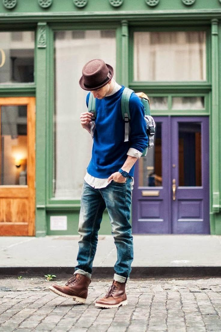 Style Seize: brown fedora + brown boots | Men  Get the complete look here!