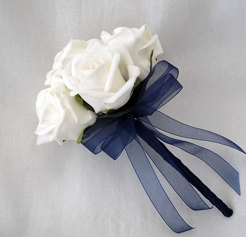 WEDDING FLOWERS - BRIDESMAIDS FLOWERGIRLS POSY BOUQUET IVORY AND NAVY BLUE | eBay