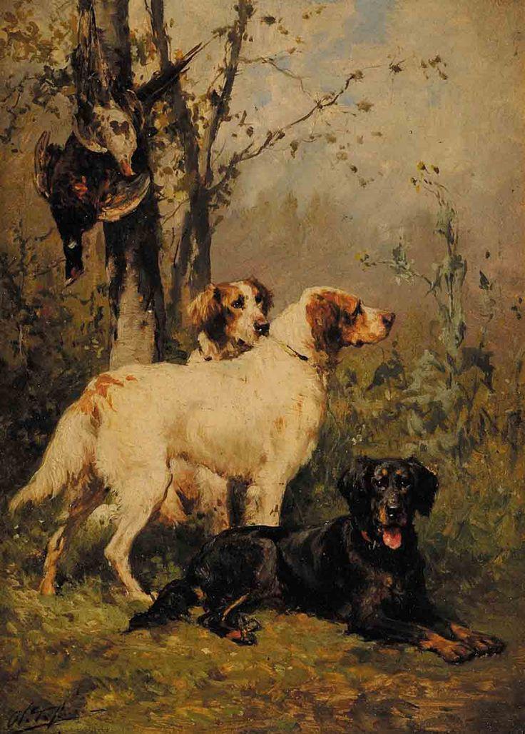Olivier Charles de Penne (1831-1897) chiens de chassle devant des perdrix huile sur panneau signé en bas à gauche 21,2 x 15,5 cm.